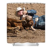 Cowboy Has Steer By Horn Shower Curtain