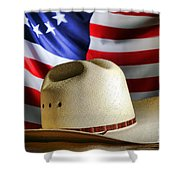 Cowboy Hat And American Flag Shower Curtain