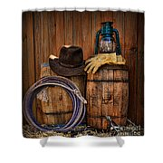 Cowboy Hat And Bronco Riding Gloves Shower Curtain by Paul Ward