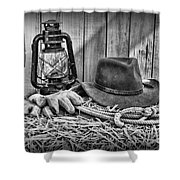Cowboy Hat And Rodeo Lasso In A Black And White Shower Curtain by Paul Ward
