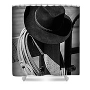 Cowboy Hat On Fence Post In Black And White Shower Curtain