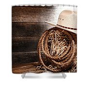 Cowboy Hat On Hay Bale Shower Curtain