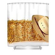 Cowboy Hat On Straw Bale Shower Curtain