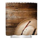 Cowboy Hat On Wood Shower Curtain