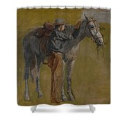 Cowboy In The Badlands Shower Curtain