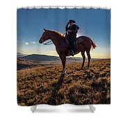 Cowboy Looks Out Over Historic Last Shower Curtain