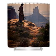 Cowboy On A Cliff Shower Curtain