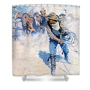 Cowboy Roping Wild Horses Shower Curtain