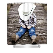 Cowboy Shower Curtain by Scott Pellegrin