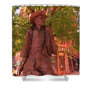 Cowboy Statue In Front Of The Brown Palace Hotel In Denver Shower Curtain