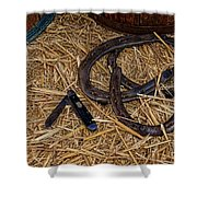 Cowboy Theme - Horseshoes And Whittling Knife Shower Curtain by Paul Ward