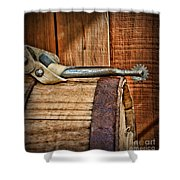Cowboy Themed Wood Barrel And Spur Shower Curtain by Paul Ward