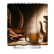 Cowboy's Coffee Break Shower Curtain