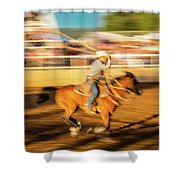 Cowboys Ride And Rope Cattle During San Shower Curtain
