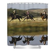 Cowboys Riding With Dogs Oregon Shower Curtain