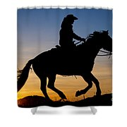 Cowgirl At Sunrise Shower Curtain