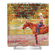 Cowgirl In Bricks Shower Curtain