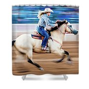 Cowgirl Rides Fast For Best Time Shower Curtain