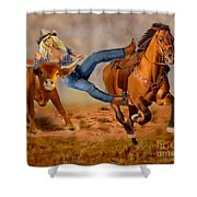 Cowgirl Steer Wrestling Shower Curtain