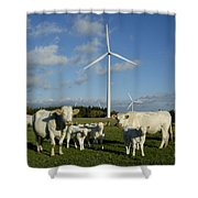 Cows And Windturbines Shower Curtain