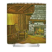 Cozy Fireplace At Lake Hope Ohio Shower Curtain