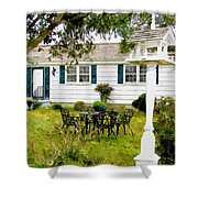Cozy Little Back Yard Terrace With Table And Chair Shower Curtain