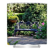 Cozy Southern Garden Bench Shower Curtain by Carol Groenen