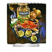 Crab Fixin's Shower Curtain by Dianne Parks