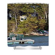 Crab Traps On Boat Near Shore Portland Shower Curtain