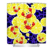 Crabs On Lemon Shower Curtain