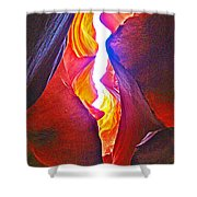 Crack Between Two Worlds In Lower Antelope Canyon In Lake Powell Navajo Tribal Park-arizona Shower Curtain