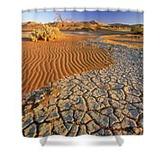 Cracking Dirt And Dunes Namib Desert Shower Curtain