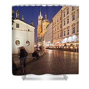 Cracow By Night In Poland Shower Curtain
