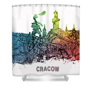 Cracow City Skyline Map Shower Curtain