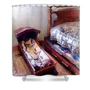 Cradle With Quilt Shower Curtain
