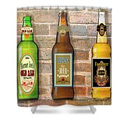 Craft Beer Collection On Brick Shower Curtain
