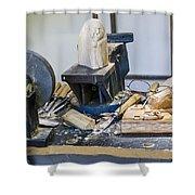 Craftsman Work Table Shower Curtain