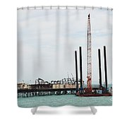 Crane Barge At Hastings Pier Shower Curtain