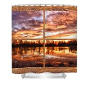 Crane Hollow Sunrise Barn Wood Picture Window Frame View Shower Curtain