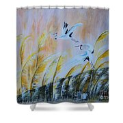 Crane On Reed Marshes Shower Curtain