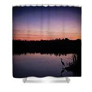 Crane Under Wires At Sunset Shower Curtain