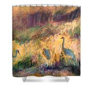 Cranes In The Grain Shower Curtain