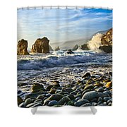 Crash - Waves From Soberanes Point In Garrapata State Park In California. Shower Curtain