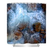 Crashing Falls On Rocks Below Shower Curtain