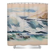 Crashing On The Rocks Shower Curtain