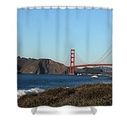 Crashing Waves And The Golden Gate Bridge Shower Curtain by Linda Woods