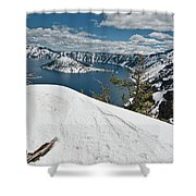 Crater Lake And Wizard Island In June Shower Curtain