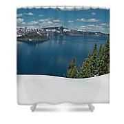 Crater Lake Panorama Shower Curtain