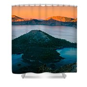 Crater Lake Sunset Shower Curtain