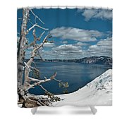 Crater Lake Tree Shower Curtain